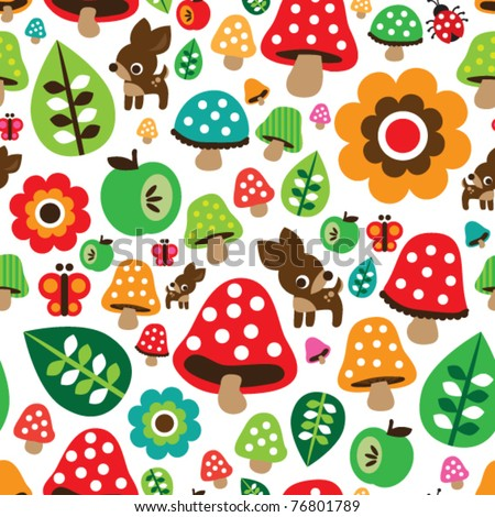 Seamless retro mushroom autumn deer pattern with apple illustration in vector - stock vector