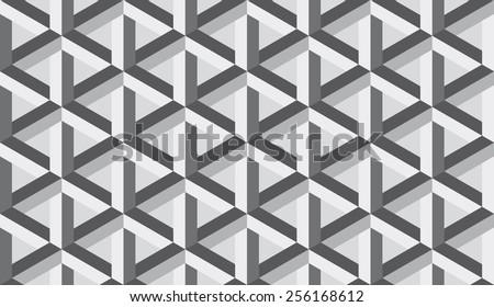 Seamless retro op art hex construction optical illusion vector pattern - stock vector