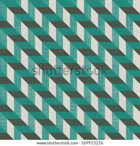 seamless retro pattern with diagonal green and grey lines and fabric background texture - stock vector