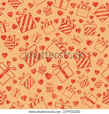 Seamless retro pattern with gift boxes and hearts. Vector illustration EPS10