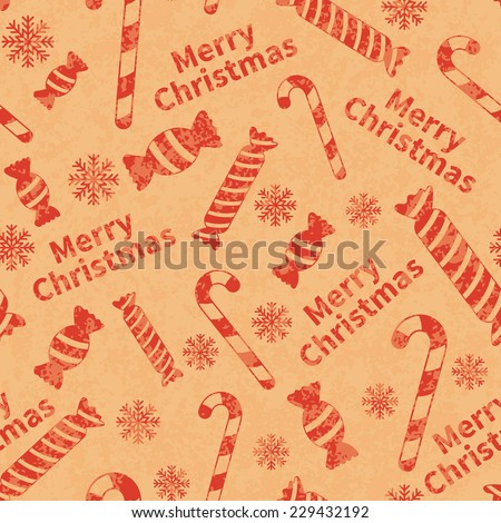 Seamless retro pattern with gift boxes, snowflakes and Merry Christmas text. Vector illustration EPS10 - stock vector