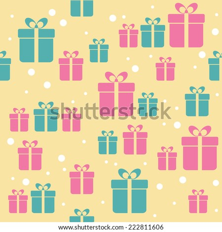 Seamless retro pattern with gifts - stock vector