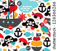 Seamless retro pirates illustration sailing the ocean background pattern in vector - stock vector