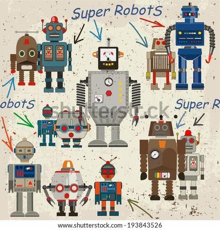 seamless retro Robot pattern, cartoon vector illustration - stock vector