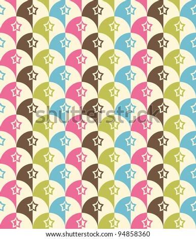 Seamless Retro-stylized Shapes. Tileable, seamless easy-edit - stock vector