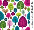 Seamless retro tree autumn pattern wallpaper with forrest illustration in vector - stock vector