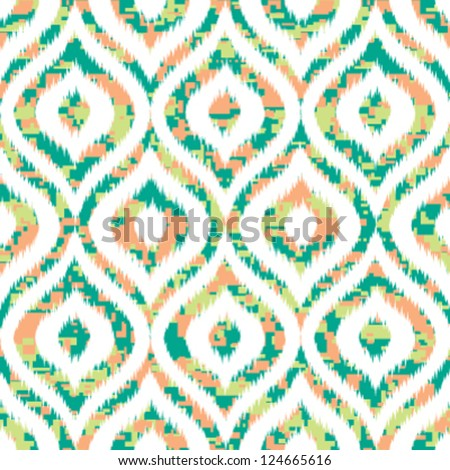 Seamless Reworked Camouflage Ogee Melange with Ikat Weave Pattern Edges - stock vector