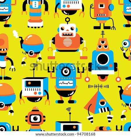 seamless robot pattern - stock vector