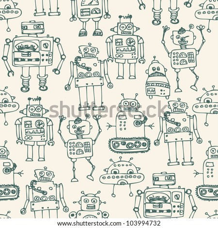 Seamless robot pattern in cartoon style - stock vector