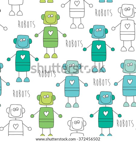 seamless robot pattern vector illustration - stock vector