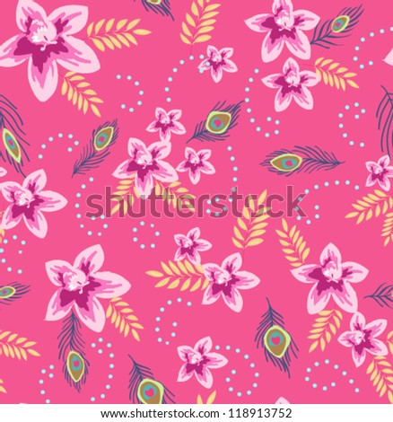 seamless romantic flowers with dreamy peacock feather,floral patterns - stock vector