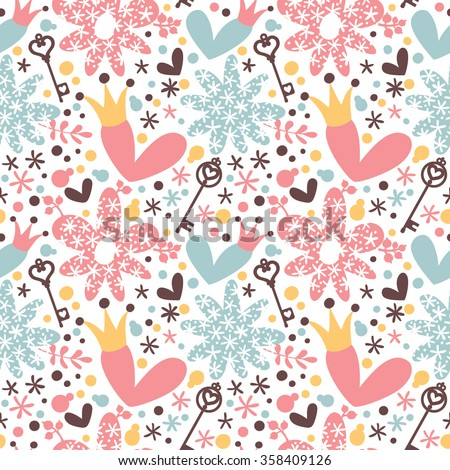 Seamless romantic pattern with hearts, crown and keys.
