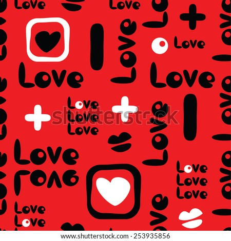 seamless romantic pattern with love symbols - stock vector