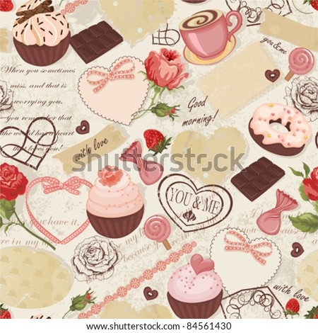 stock vector seamless romantically background with roses cards stamps sweets and paper scraps 84561430 - Каталог — Фотообои «Еда, фрукты, для кухни»