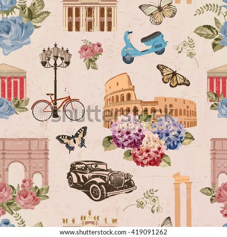 Seamless Rome travel wallpaper.Vintage background. - stock vector