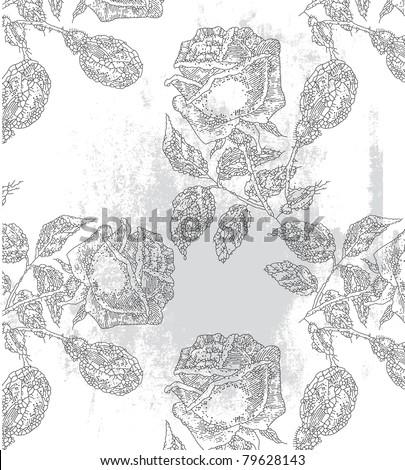 seamless rose background pattern design - stock vector