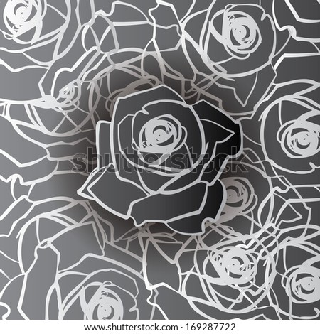 Seamless roses background. Greyscale pattern. Vintage. - stock vector