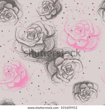 Seamless roses pattern / Vintage floral background - stock vector