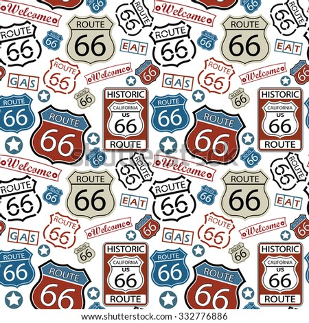 Seamless Route 66 Pattern