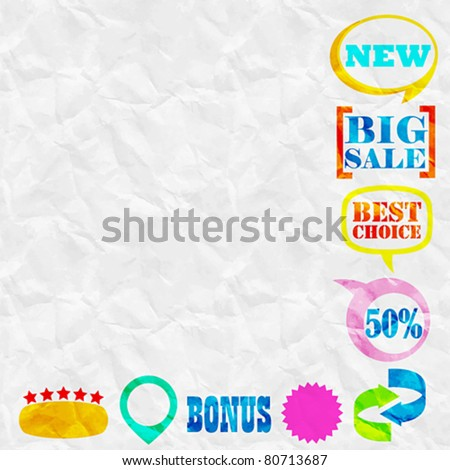 Seamless rumpled paper texture with design elements. Vector illustration. - stock vector