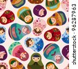 seamless Russian doll pattern - stock photo