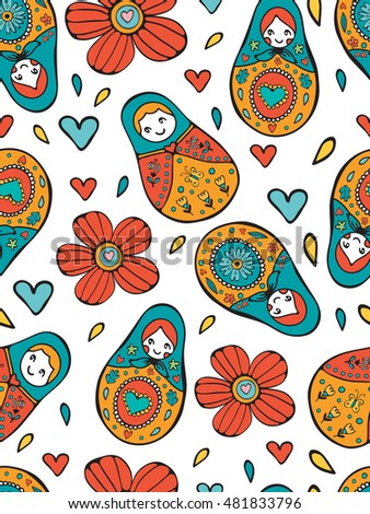 Seamless Russian Dolls pattern illustration in vector format