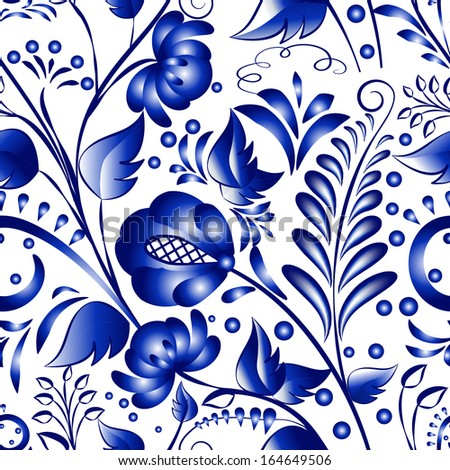 Seamless russian gzhel patterns on a white background. Vector illustration Blue floral pattern in gzhel style.