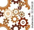seamless rusty cogwheel pattern - factory background - stock photo