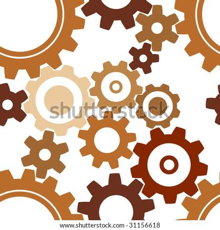 seamless rusty cogwheel pattern - factory background - stock vector