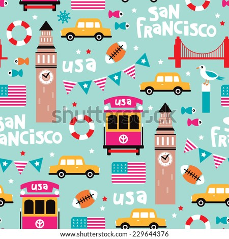 Seamless san francisco travel icons colorful retro style illustration background pattern in vector - stock vector
