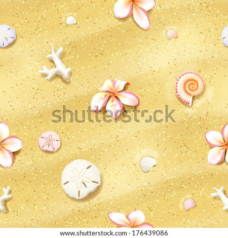 Seamless Sand Background with Flowers, Sand Dollars and Seashells. Vector illustration, eps10, editable. - stock vector