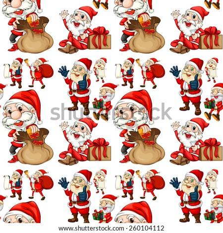 Seamless Santa with christmas presents - stock vector