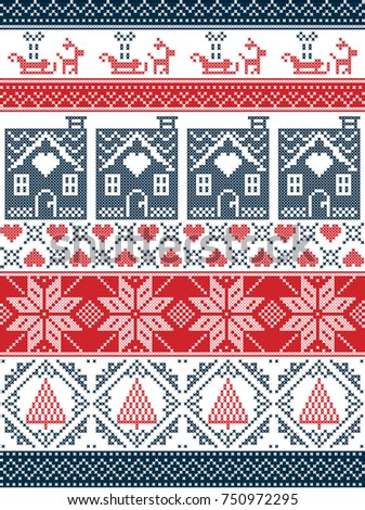 Seamless Scandinavian style and inspired by Norwegian Christmas  festive  winter seamless pattern in cross stitch. Seamless Scandinavian Style Inspired By Norwegian Stock Vector
