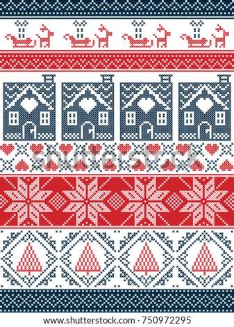 Seamless Scandinavian style and inspired by Norwegian Christmas  festive  winter seamless pattern in cross stitch. Seamless Scandinavian Style Inspired By Norwegian Stock Vector