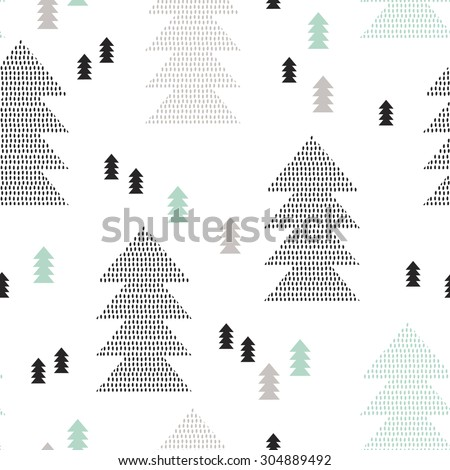 Seamless scandinavian style pine christmas tree illustration soft retro background pattern in vector - stock vector