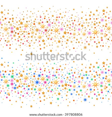 Seamless scattered circles & stars isolated on white background, vector illustration - stock vector
