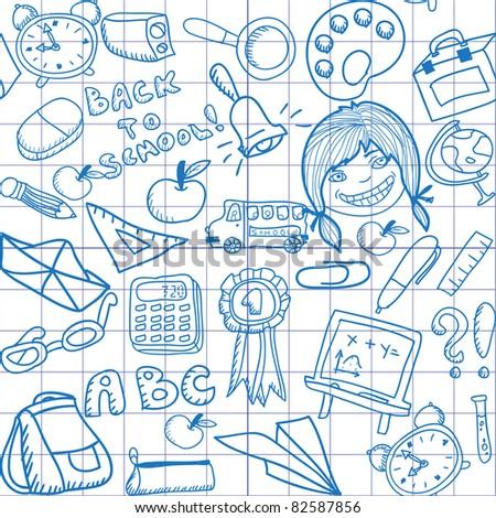 seamless school pattern - stock vector