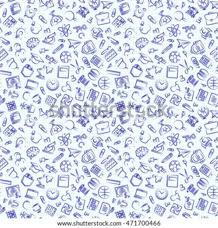 Seamless school pattern with hand drawn thin line icons school supplies on checkered background. Education pattern. Vector Illustration