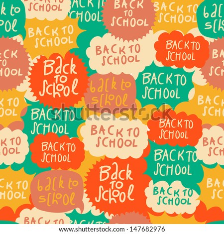 Seamless school pattern with speech bubbles, vector illustration.