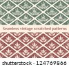 Seamless scratched vintage patterns with decorative crown elements - stock vector