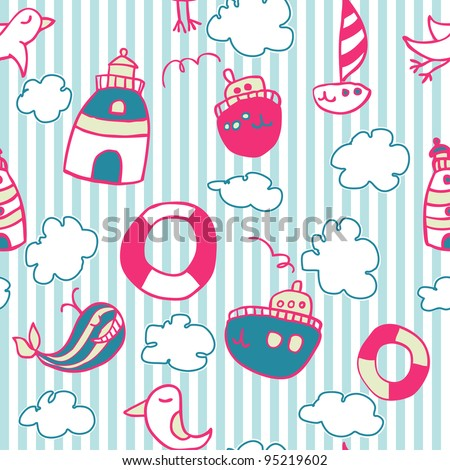Seamless sea doodle pattern on striped background - stock vector