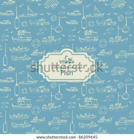 Seamless sea hand-drawn pattern with card label - stock vector