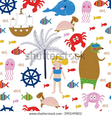 Seamless sea holidays background in cartoon style
