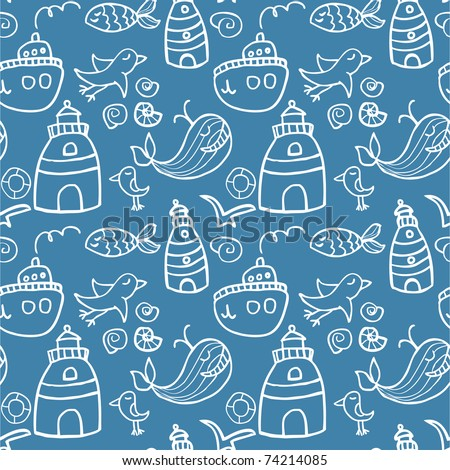 Seamless sea pattern in cartoon style - stock vector