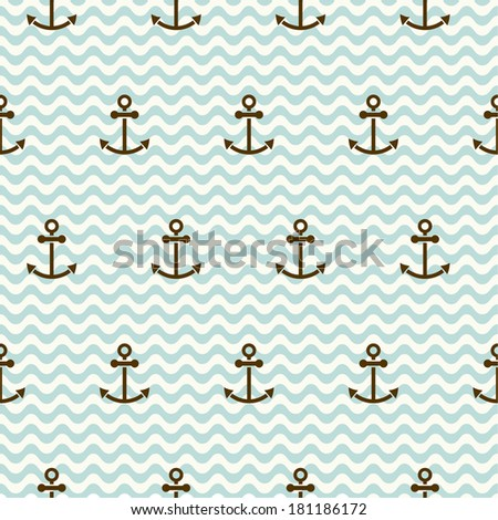 Seamless sea pattern of anchors and waves - stock vector