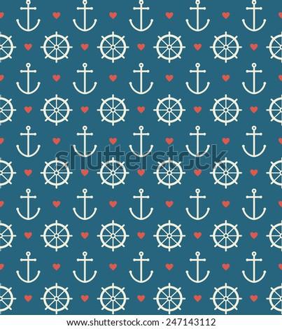 seamless sea pattern. vector illustration - stock vector
