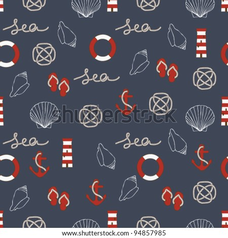 Seamless sea style pattern. - stock vector
