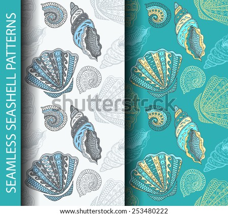 Seamless seashell patterns. Based on hand drawn sketch, without gradients and clipping mask.  - stock vector