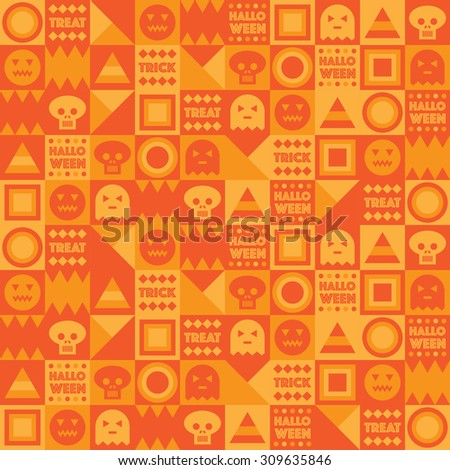 seamless seasonal halloween pattern of squares, pumpkins, skulls and lettering - stock vector
