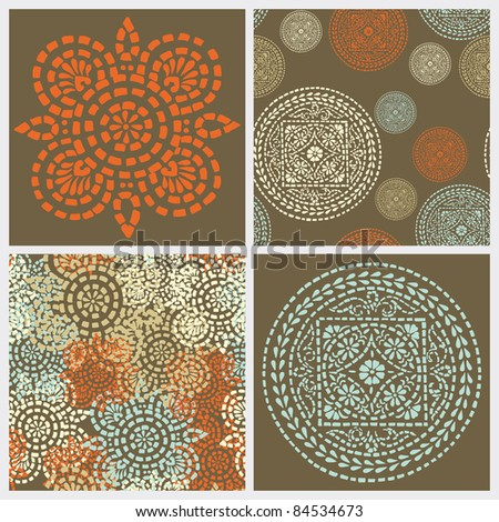 Seamless set and abstract elements vector texture in gentle colors - stock vector